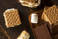 Homemade S'more with chocolate and marshmallow Royalty Free Stock Images