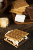 Homemade S'more with chocolate and marshmallow Stock Photo