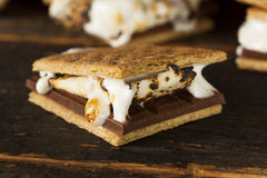 Homemade S'more with chocolate and marshmallow Stock Photos