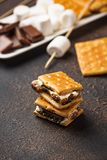 Homemade s`mores with crackers, marshmallows and chocolate royalty free stock photography