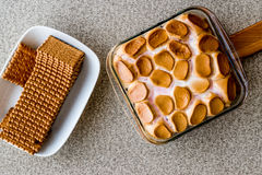 Homemade S`mores Dip / Baked Marshmallow with biscuits or crackers. Stock Photos
