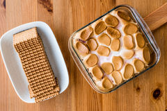 Homemade S`mores Dip / Baked Marshmallow with biscuits or crackers. Royalty Free Stock Image