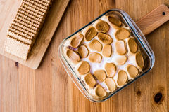 Homemade S`mores Dip / Baked Marshmallow with biscuits or crackers. Royalty Free Stock Images