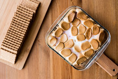 Homemade S`mores Dip / Baked Marshmallow with biscuits or crackers. Royalty Free Stock Photography