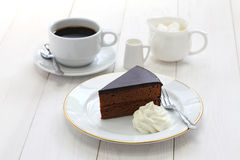 Homemade sachertorte, Austrian chocolate cake Stock Image