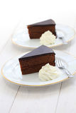 Homemade sachertorte, Austrian chocolate cake Stock Images