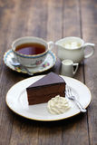 Homemade sachertorte, Austrian chocolate cake Stock Photography