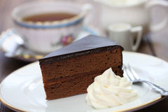 Homemade sachertorte, Austrian chocolate cake Stock Photo