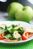 Homemade salad with pork and greens royalty free stock image
