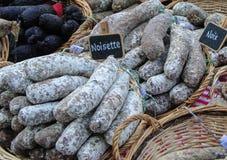 Homemade salami Stock Images