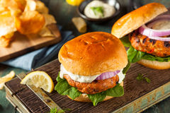 Homemade Salmon Burger with Tartar Sauce Royalty Free Stock Images