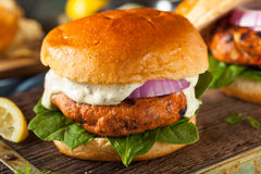 Homemade Salmon Burger with Tartar Sauce Royalty Free Stock Photos