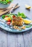 Homemade salmon fish cake. With fresh leaf salad garnished with lemon royalty free stock photos