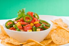 Homemade Salsa. Delicious homemade salsa served with corn chips Royalty Free Stock Image