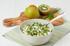 Homemade Salsa Made Of Kiwi, Pears, Chives And Mint. Olive Wood Royalty Free Stock Photo