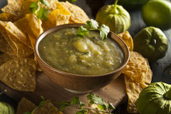 Homemade Salsa Verde with Cilantro Royalty Free Stock Images