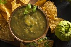 Homemade Salsa Verde with Cilantro Stock Photo