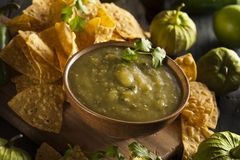 Homemade Salsa Verde with Cilantro Royalty Free Stock Image