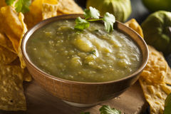 Homemade Salsa Verde with Cilantro Stock Photo