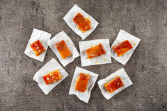 Homemade salted caramel candies royalty free stock photography