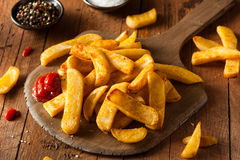 Homemade Salty Steak French Fries. With Ketchup Royalty Free Stock Photo
