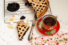 Homemade sand cake with cherry jam on a lattice and a cup of tea Royalty Free Stock Image