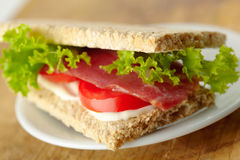 Homemade sandwich with bacon Stock Photo