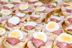 Homemade sandwich with egg and sausage Stock Image