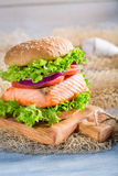 Homemade sandwich with fish and vegetables Stock Photography