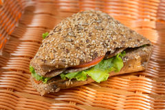 Homemade sandwich with ham, cheese and salad Royalty Free Stock Photography