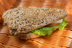 Homemade sandwich with ham, cheese and salad Royalty Free Stock Images