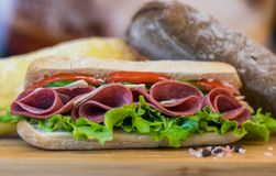 Homemade Sandwich with salami,sauces,and fresh vegetables stock photos