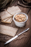 Homemade sandwiches with crisp bread, tuna and egg on a wooden t Royalty Free Stock Photography