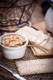 Homemade sandwiches with crisp bread, tuna and egg on a wooden t Stock Photography
