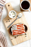 Homemade sandwiches with image of american flag on breakfast Stock Photos