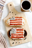 Homemade sandwiches with image of american flag on breakfast Royalty Free Stock Image