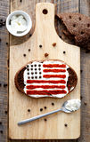 Homemade sandwiches with image of american flag on breakfast Stock Image