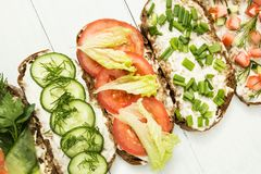 Homemade sandwiches. Low carbohydrate diet of organic products. Flat lay with copy space. Healthy breakfast concept. Spring food royalty free stock photos