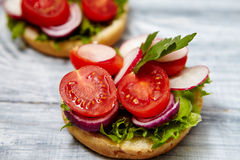 Homemade sandwiches with tomato, onion, radishes, parsley. Healthy food concept. Tasty homemade sandwiches with tomato, onion, radishes, parsley, on a wooden Royalty Free Stock Photos