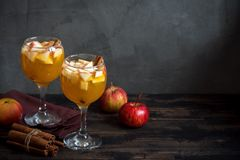 Sangria, apple cider, punch. Homemade sangria apple cider, punch, fruit wine for autumn and winter holidays - festive Christmas, Thanksgiving drinks stock image