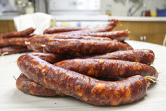 Homemade sausage. After a two days of curing stock photos