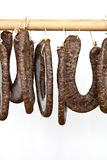Homemade sausage. From the Balkans dried classical rural technology royalty free stock images