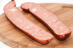 Homemade sausage cut for frying Royalty Free Stock Photos