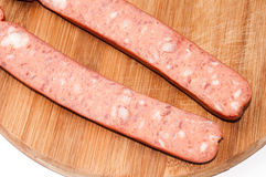 Homemade sausage cut for frying Royalty Free Stock Image