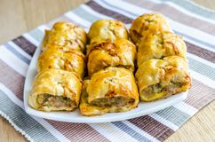 Homemade sausage rolls Stock Images