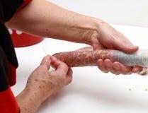 Homemade sausages Stock Photos
