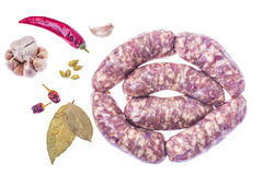 Homemade sausages in a natural shell with spices. Studio Photo Stock Photography