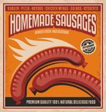 Homemade sausages  poster design Royalty Free Stock Images