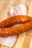 HOMEMADE SAUSAGES SMOKED BACON DELICIOUS FOOD Stock Photography