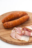 HOMEMADE SAUSAGES SMOKED BACON DELICIOUS FOOD Stock Photo
